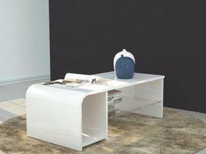 WHITE LABEL - table basse / meuble tv s-time design blanc - Table Basse Rectangulaire