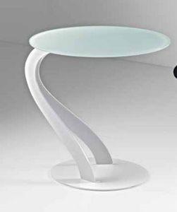 WHITE LABEL - bout de canapé tom design blanc ovale en verre tre - Bout De Canapé