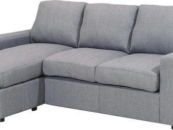 WHITE LABEL - canapé d?angle en tissu coloris gris - Canapé Modulable