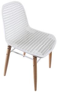 COMFORIUM - chaise moderne coloris blanc et bois - Chaise