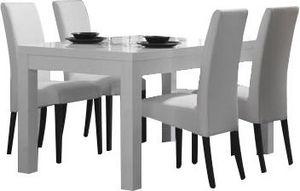 COMFORIUM - table à manger blanche et grise 190 cm + 4 chaises - Salle À Manger