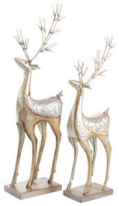 Aubry-Gaspard - statuette renne de noël (lot de 2) - Statuette