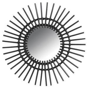 Aubry-Gaspard - miroir déco vintage rotin noir - Miroir