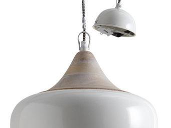 Aubry-Gaspard - lampe suspension en métal laqué et bois - Suspension