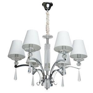 CHIARO - lustre 6 branches métal et cristal abat-jour blanc - Lustre