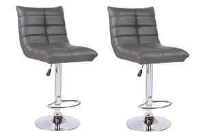 WHITE LABEL - lot de 2 chaises de bar cool similicuir gris - Chaise Haute De Bar