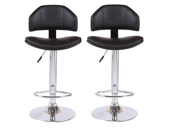 WHITE LABEL - lot de 2 chaises de bar deep similicuir noir - Chaise Haute De Bar