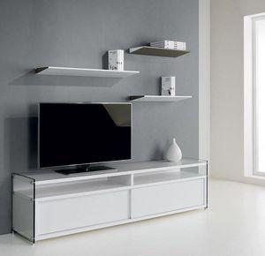 WHITE LABEL - meuble tv talac 2 portes coulissantes blanc mat - Meuble Tv Hi Fi