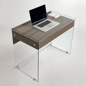 WHITE LABEL - bureau tokio 1 tiroir coloris orme piétement en ve - Bureau