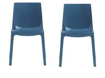 WHITE LABEL - lot de 2 chaises ice empilable design bleu brillan - Chaise