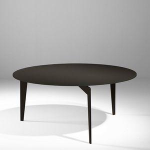WHITE LABEL - table basse ronde miky en verre coloris chocolat - Table Basse Ronde