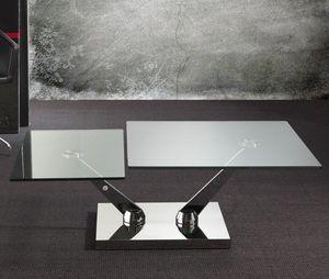 WHITE LABEL - table basse braf design en verre - Table Basse Avec Plateau