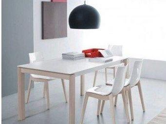 WHITE LABEL - table repas bio tech extensible blanche 210 cm - Table De Repas Rectangulaire