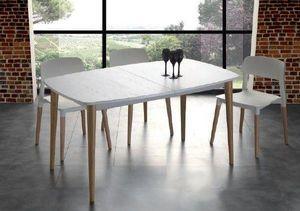 WHITE LABEL - table repas extensible olaf blanche - Table De Repas Rectangulaire