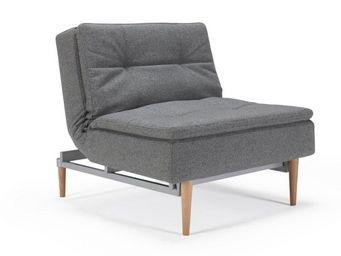 INNOVATION - fauteuil design dublexo gris piétement chêne clair - Fauteuil