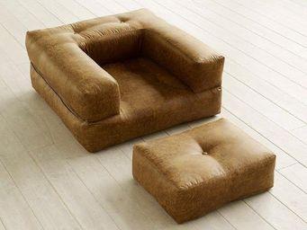 WHITE LABEL - fauteuil cube 3 en 1 futon aspect cuir vintage cog - Fauteuil Et Pouf