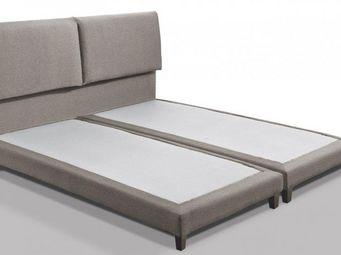 WHITE LABEL - lit design haut de gamme balzac 160*200 cm tissu c - Lit Double