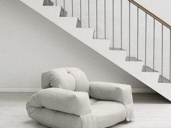 WHITE LABEL - fauteuil lit hippo futon naturel couchage 90*200*2 - Fauteuil