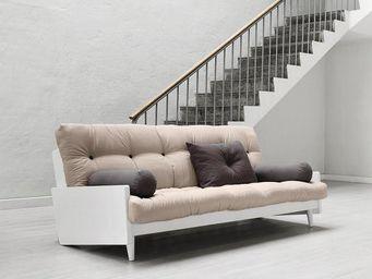 WHITE LABEL - canapé blanc 3/4 places convertible indie futon ta - Canapé 3 Places