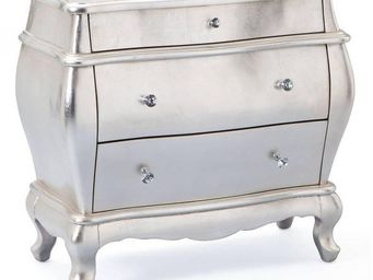 WHITE LABEL - commode baroque fantastica argent 3 tiroirs - Commode
