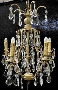 Demeure et Jardin - lustre armature beige pampilles blanches - Lustre