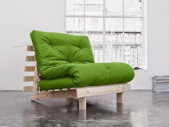 WHITE LABEL - fauteuil bz style scandinave roots futon vert lime - Fauteuil