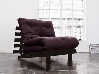 WHITE LABEL - fauteuil bz wengé roots futon violet couchage 90*2 - Fauteuil