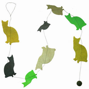 Lamali - guirlande chats en papier lokta 150cm jardin - Guirlande