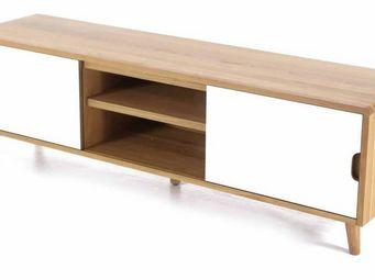 ZAGO - meuble tv 2 portes coulissantes et 2 niches 180 cm - Meuble Tv Hi Fi