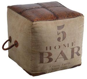 Aubry-Gaspard - pouf carré en coton et cuir - Pouf
