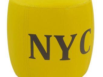 Cotton Wood - pouf tonneau nyc jaune - Pouf