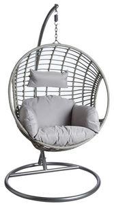 Aubry-Gaspard - fauteuil oeuf gris en polyrésine sur pied - Balancelle