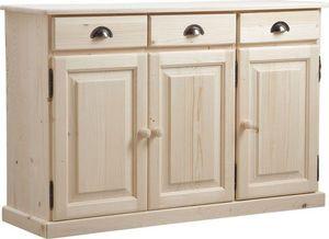 Aubry-Gaspard - buffet 3 portes 3 tiroirs en bois brut - Buffet Bas