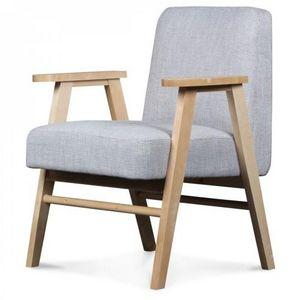 Demeure et Jardin - fauteuil design scandinave tissu tweed gris perle  - Fauteuil
