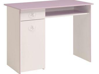 WHITE LABEL - bureau à caisson blanc/lilas - lady - l 101 x l 55 - Bureau