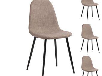 WHITE LABEL - quatuor de chaises tissu gris - paddy - 45 x l 45  - Chaise