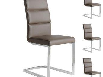 WHITE LABEL - quatuor de chaises eco-cuir taupe - loni - l 45 x  - Chaise