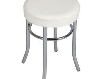 WHITE LABEL - tabouret blanc - noellie - l 32 x l 32 x h 45 - ac - Tabouret