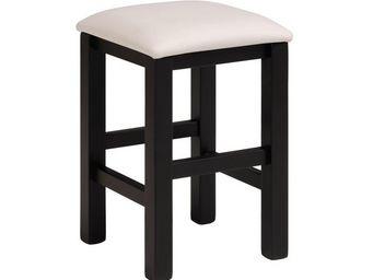 TOUSMESMEUBLES - tabouret noir/blanc - nelly - l 32 x l 32 x h 43 - - Tabouret