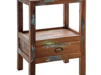 WHITE LABEL - table de chevet à tiroir - angele - l 44 x l 33 x  - Table De Chevet