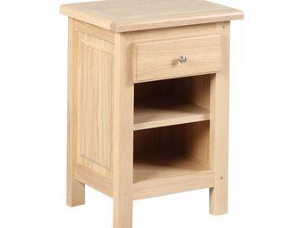 WHITE LABEL - table de chevet 1 tiroir 2 niches - campy - l 45 x - Table De Chevet