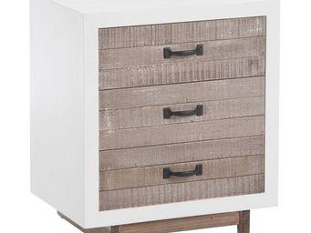 WHITE LABEL - table de chevet 3 tiroirs - canon - l 50 x l 36 x  - Table De Chevet
