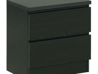WHITE LABEL - table de chevet 2 tiroirs wengé - jarod - l 44 x l - Table De Chevet