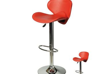 WHITE LABEL - duo de tabourets de bar rouge - flyn - l 54 x l 44 - Chaise Haute De Bar