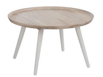 WHITE LABEL - table basse ronde bois/blanc - metro - l 80 x l 80 - Table Basse Ronde