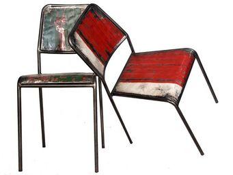 WHITE LABEL - duo de chaises en métal - industry - l 40 x l 48 x - Chaise