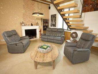 WHITE LABEL - salon complet relax électrique gris - alicia - l 1 - Salon
