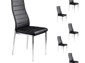 WHITE LABEL - lot de six chaises simili cuir noir - jaba - l 40  - Chaise