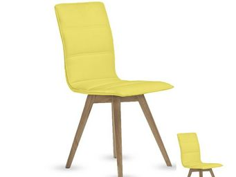 WHITE LABEL - duo de chaises simili cuir jaune - kano - l 43 x l - Chaise