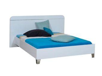 TOUSMESMEUBLES - cadre de lit + t�te de lit 140*190 laqu� blanc - u - Lit Double